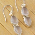 Natural Rose Quartz 6x9mm Gemstone 925 Sterling Silver Hanging Womens Earring