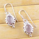 Amazing 1 Pair Natural Rose Pink Quartz 925 Sterling Silver Earring For Women