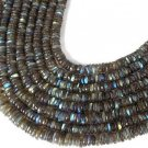 "5 Strands AAA Natural Labradorite Tyre Wheel Shape 6-7mm 13"" Long Smooth Beads"