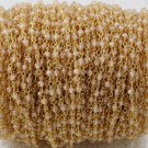 5 Feet Golden Cubic Zirconia Faceted 3-4mm 24k Gold Plated Rosary Beaded Chain