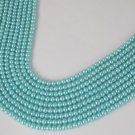 "5 Strands Pale Turquoise Glass Pearl Rondelle Shape 4-4.5mm 16"" Long Smooth Bead"