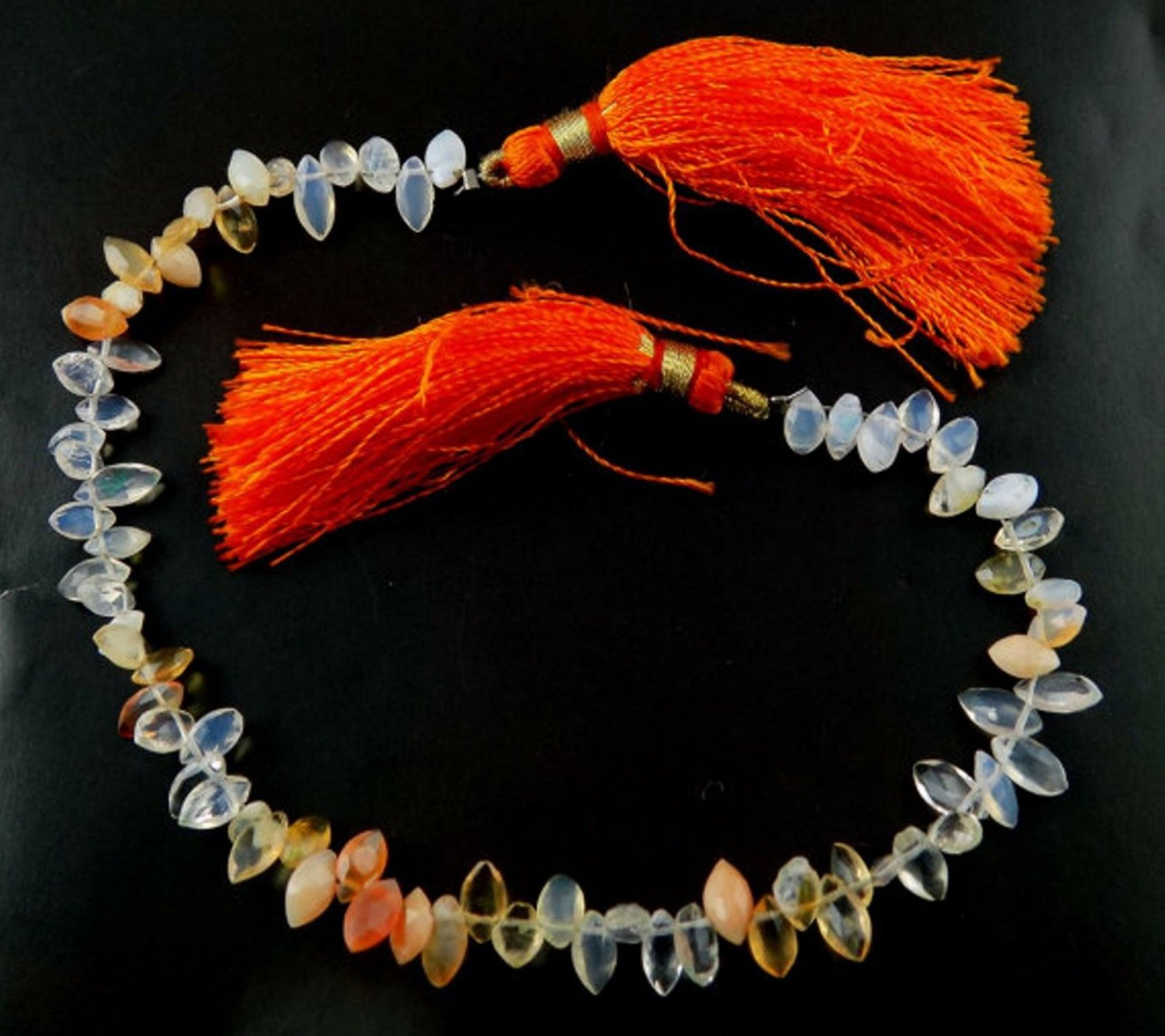"1 Strand Natural Fire Opal Briolette Marquise 3x5-4x8mm Faceted Stone 7.5"" Long"