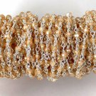 5 Feet Golden Rutile Cubic Zirconia 925 Silver Plated 3-4mm Rosary Beaded Chain