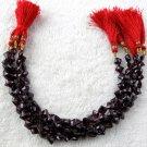 "1 Strand Natural Garnet Gemstone Square Shape 6x6mm Briolette Cut Beads 8"" Long"