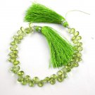 "1 Strand Natural Peridot Pear Shape 4x6-5x7mm Faceted Gemstone Beads 7"" Long"
