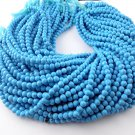 "5 Strands Synthetic Blue Turquoise Smooth Rondelle Shape 5mm 13"" Long Beads"