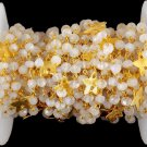 5 Feet Natural Rainbow Moonstone 24k Gold Plated Faceted 3.5-4mm Rosary Beads