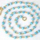 925 Sterling Silver 24k Gold Plated Natural Turquoise Gemstone Rondelle Necklace