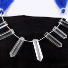 1 Strand 7 Pcs Natural Crystal Reiki Drilled Single Pointed Clear Quartz Pencil.