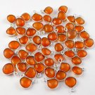 5 Pieces Natural Carnelian Single Bail Connector Heart Shape 7x7-8x8mm Silver