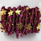 5 Feet Dyed Ruby Faceted Rosary Star Charms 24k Gold Plated 3.5-4mm Handmade