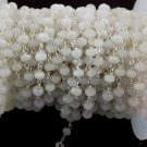 5 Feet White Chalcedony Faceted Rondelle 4mm 925 Silver Plated Rosary Chain