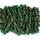 5 Feet Emerald Chalcedony Faceted 3.5-4mm 24k Gold Plated Rosary Beaded Chain