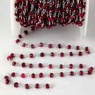 5 Ft Dyed Ruby Gemstone Faceted Rosary Handmade Chain 925 Silver Plated 3.5-4mm