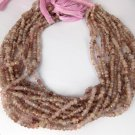 """2 Strand Pink Rutile Quartz Gemstone Micro Faceted Roundelle Beads 3-4mm 13""""Long"""