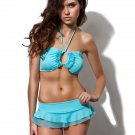 New ZEUGARI S swimsuit bikini luxury designer aqua skirted sassy flirty bandeau