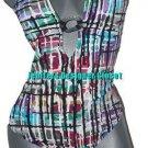 NWT GIDEON OBERSON swimsuit 14 Israel flattering v-neck designer multi colors