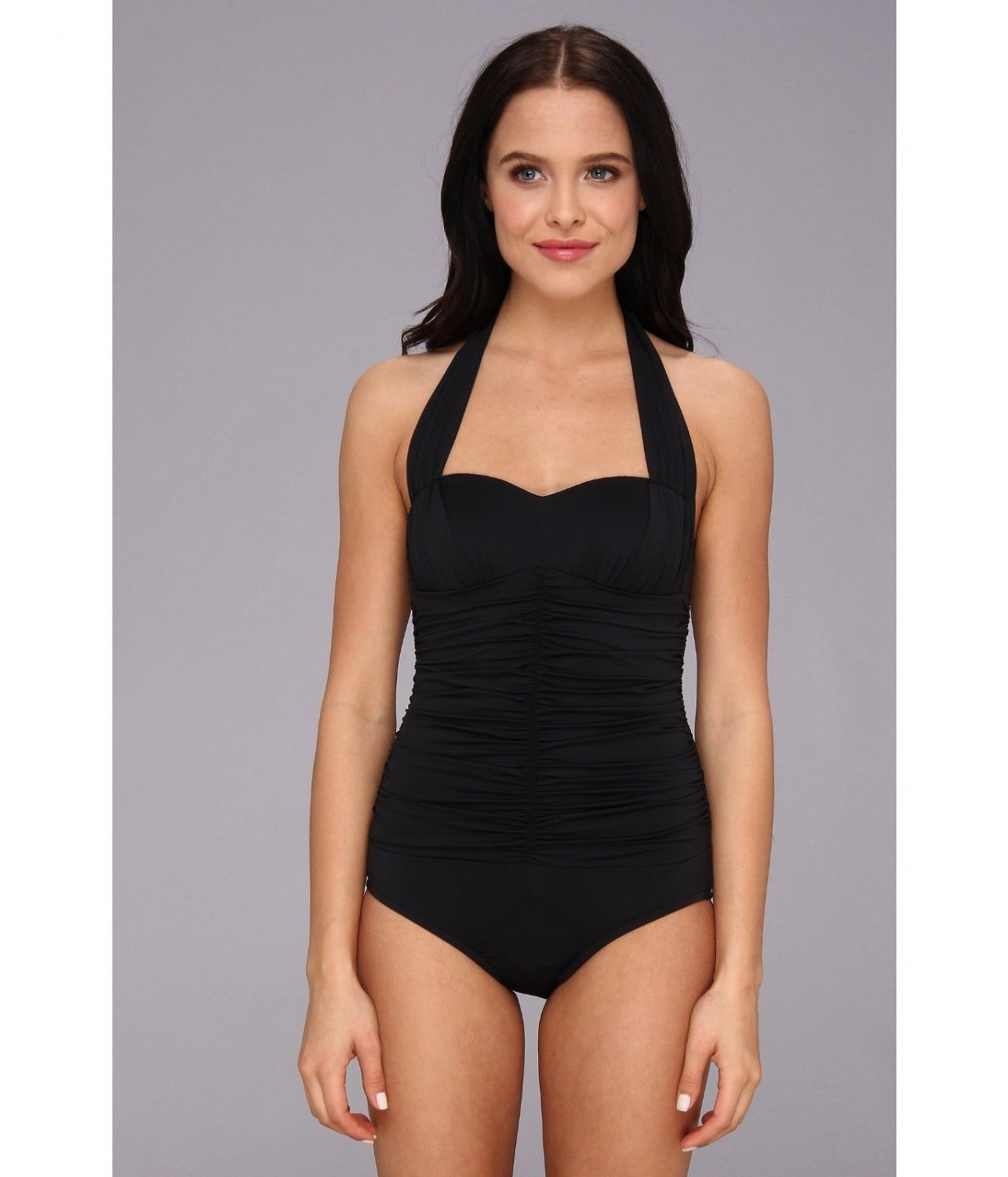 ew BADGLEY MISCHKA swimsuit 8 shirred down front and back maillot slimming