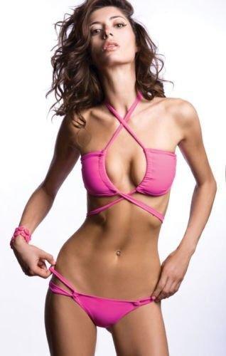 New ZEUGARI S XS swimsuit bikini luxury designer pink convertible sassy bandeau