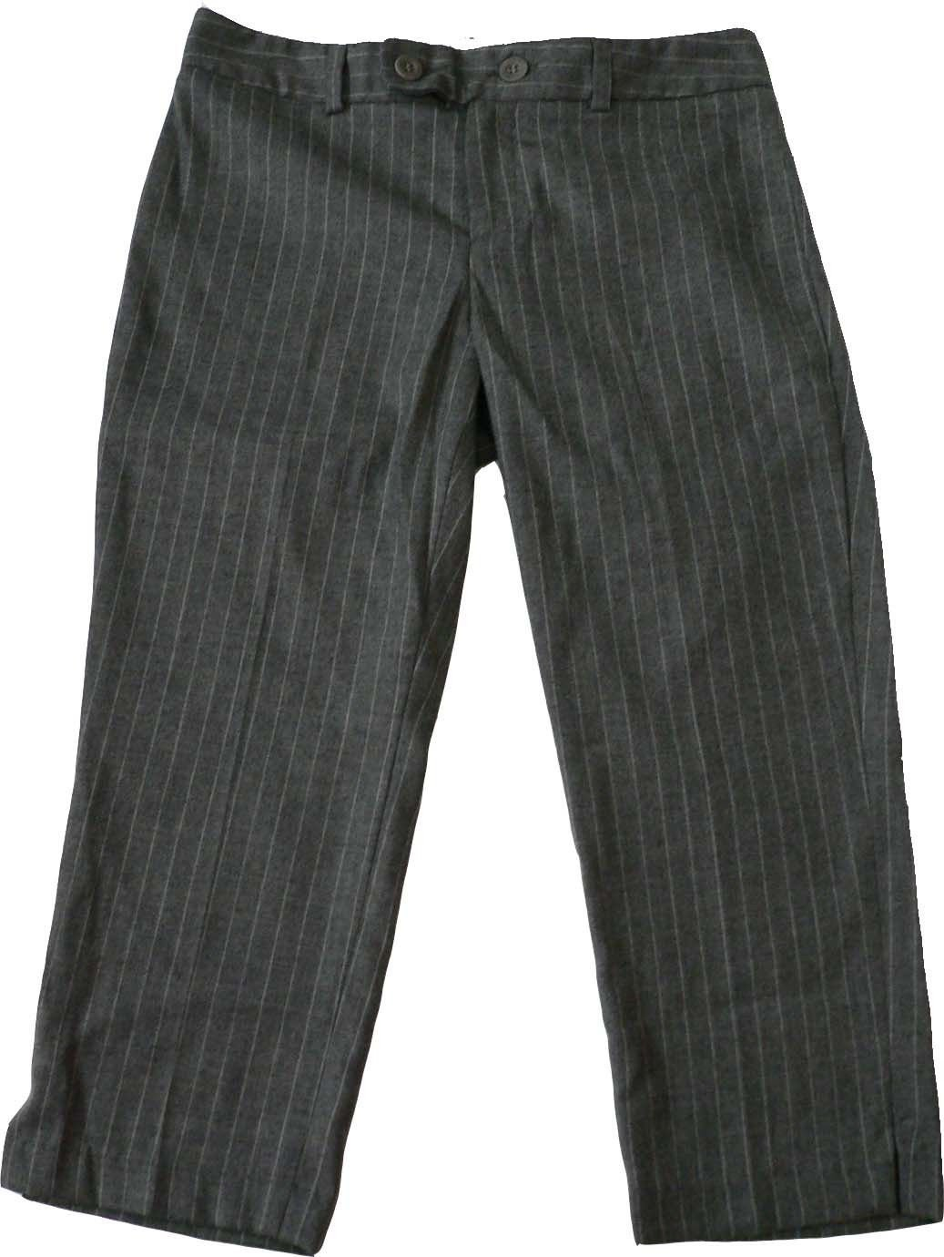 NWT CATHERINE MALANDRINO wool pinstriped pants $265 8 career gray cropped