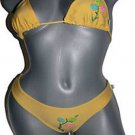 NWT AREIA MAR Beaded Brazilian Bikini Swimsuit M yellow embroidered