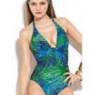 NWT GOTTEX one-piece swimsuit halter 10 greens blue $178 Israel tropical jungle