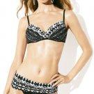 NWT BADGLEY MISCHKA 6 swimsuit 2pc bikini adjustable bottoms underwire top black