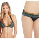 NWT NANETTE LEPORE S swimsuit bikini halter embroidered maya brown designer 2 PC