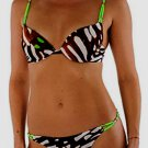 NWT JUST CAVALLI bikini II S 42 swimsuit designer Roberto push-up brown animal