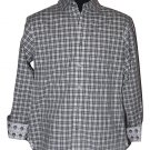 New ROBERT GRAHAM shirt S black white plaid w/ skulls contrast cuffs designer