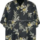 TOMMY BAHAMA L gray Hawaiian Camp Shirt SILK Excellent men's resort S/S cruise