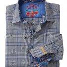 NWT ROBERT GRAHAM shirt S black blue plaid contrast cuffs designer $248