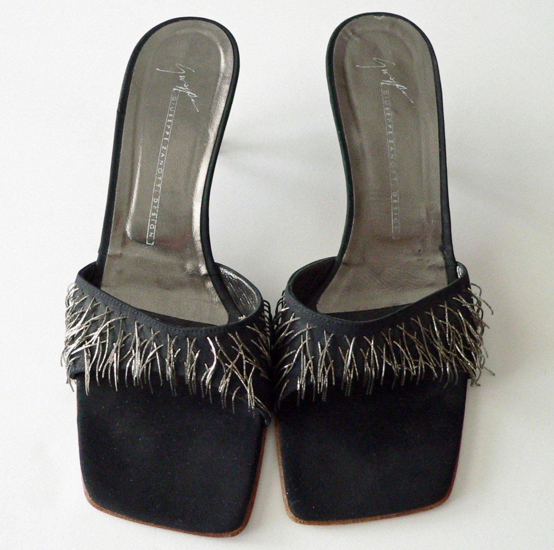 GIUSEPPE ZANOTTI evening sandals 8.5 AA kitten heels shoes silver metal fringe