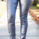 NWT JOES JEANS 25 Glittery sparkly denim blue skinny jeans silvery $225 metallic