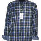 NWT ROBERT GRAHAM L shirt blue green white plaid with contrast cuffs Putignano