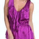 NEW REBECCA TAYLOR silk ruffled top 4 designer sleeveless purple luxe versatile