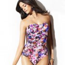 New BADGLEY MISCHKA  swimsuit 6 bandeau ruched shirred floral 1pc slimming