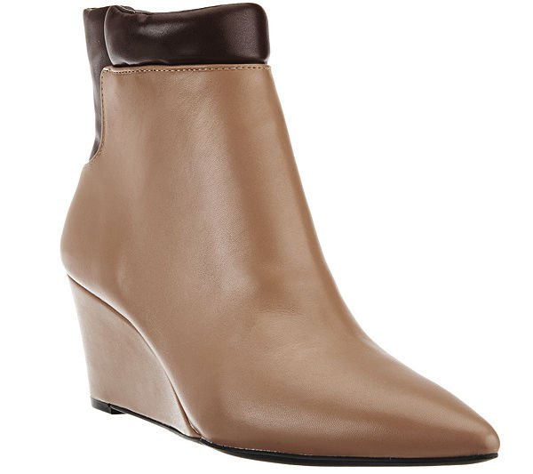 NEW HALSTON 7.5 M wedges tan brown boots booties shoes leather designer