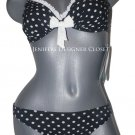 NWT GOTTEX swimsuit bikini 6 34D cup underwire adjustable strap polka dot ruffle