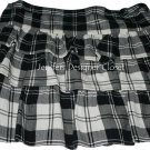 NWT THEORY 10  tri-tiered ruffled mini skirt $215 black ivory plaid designer