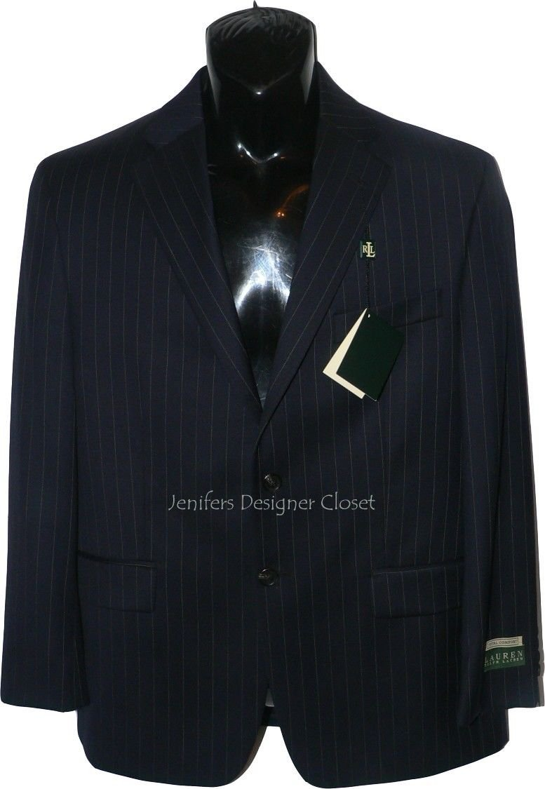 NWT RALPH LAUREN designer 40 LONG pinstripe sport coat suit jacket navy $295