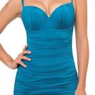 NWT GOTTEX swimsuit 10 swimdress ruched underwire slimming shirred coverup teal