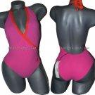 NWT DIANE von FURSTENBURG designer plunging front wrap halter swimsuit P XS pink