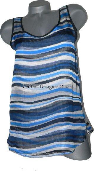 NWT ADAM LIPPES NY 8 100% silk striped tank tunic shell career designer