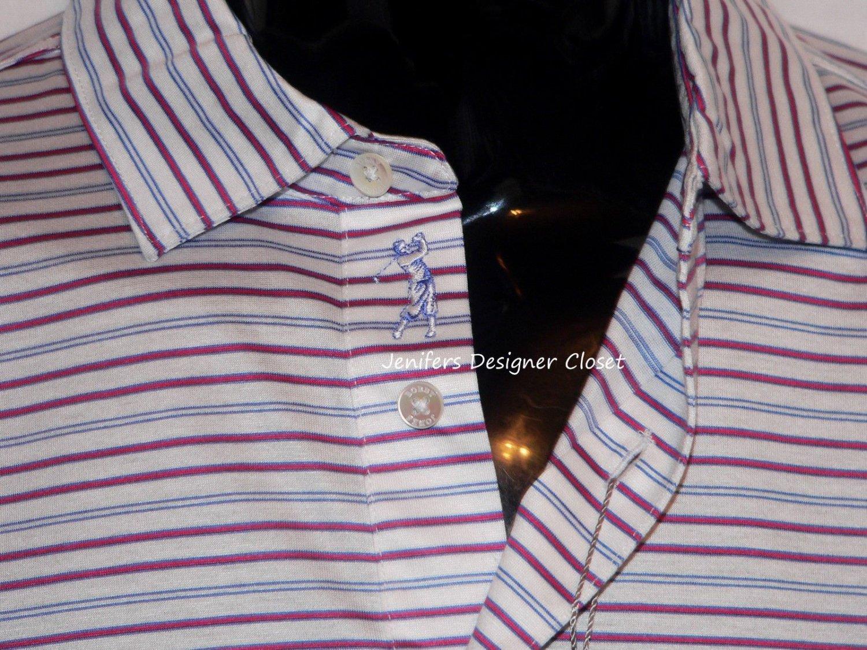 NWT BOBBY JONES M golf casual polo shirt striped blue white pink sheen logo