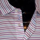 NWT BOBBY JONES M golf casual polo shirt striped blue white pink sheen logo