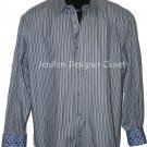 NEW ROBERT GRAHAM shirt L striped with contrasting cuffs $228 navy high-end