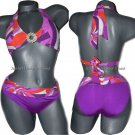 NWT TRINA TURK 0 2 XS halter bikini swimsuit ruched orange pink purple 2pc