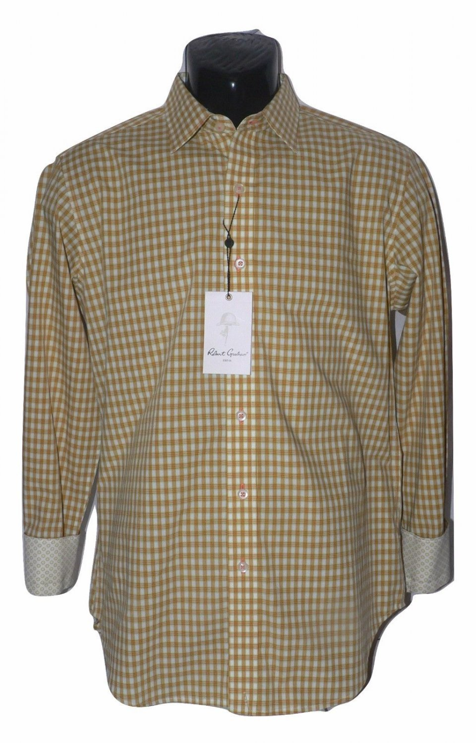 NWT ROBERT GRAHAM SM shirt gold white with contrast cuffs designer Bodowyer