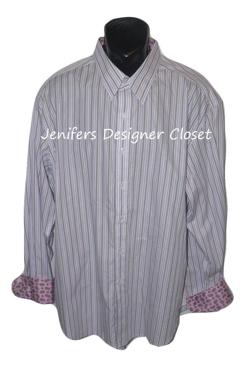 New ROBERT GRAHAM shirt 2XL gray purple striped w/ contrast cuffs pink paisley
